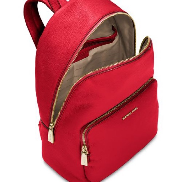 bb63190f9bd9 Michael Kors Wythe Leather Bright Red Backpack